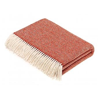 Bronte By Moon Parquet Luxury Merino Lambswool Throw - Coral