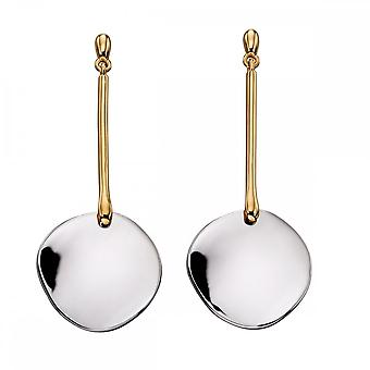 Fiorelli Silver Long Disc Mix Yellow Gold And Silver Earrings E5639
