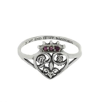 Scotland Royalty Mary Queen Of Scots Love Heart Shaped Ring - Amethyst Colour Stone