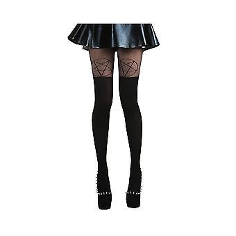 Pamela Mann Black/Black Pentagram Over The Knee Tights