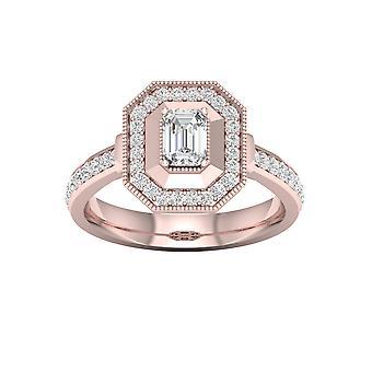 De couer 3/4ct tdw diamante 14k oro rosa emrald diamante ottagonale halo anello di fidanzamento (i-j, i2)
