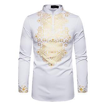 Allthemen Men's Casual Ethnic Style Retro Gilded Patterned Long-sleeve Shirt