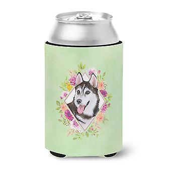Siberian Husky #1 Green Flowers Can or Bottle Hugger