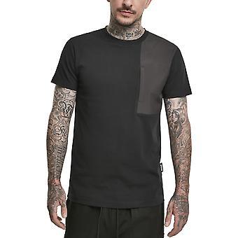 الكلاسيكية الحضرية - العسكرية الكتف جيب قميص أسود