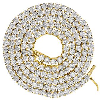 925 Sterling Silver Yellow tone Mens Womens Unisex 4mm 24 Inch CZ Cubic Zirconia Simulated Diamond Tennis Chain Jewelry