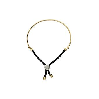 925 Sterling Silver Gold Flashed Bar Black Braided Macrame Bracelet 7 Inch Jewelry Gifts for Women