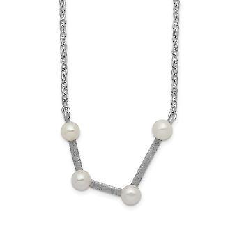 925 Sterling Silver Rhod plat 4 3 4mm Fwc Pearl Aquarius With 1inch Ext. Ketting 17 Inch Sieraden Geschenken voor vrouwen
