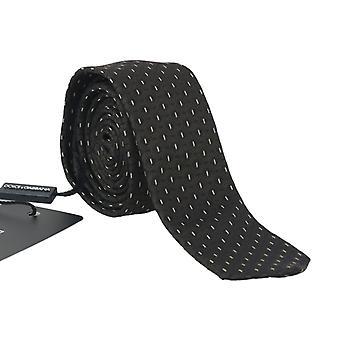 Dolce & Gabbana Black Brown Silk Pattern Skinny Tie