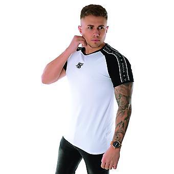 Sik Seide Ss-15603 Raglan Tape Halbärmel Gym T-shirt - weiß & schwarz