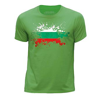 STUFF4 Boy's Round Neck T-Shirt/Bulgaria/Bulgarian Flag Splat/Green