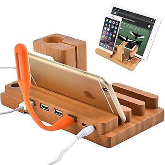 アップルウォッチのための多機能竹USB充電ドックの携帯電話のタブレットホルダーマウント