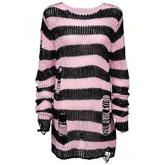 Attitude Clothing Oversized Distressed Stripe Knit Sweater Pink