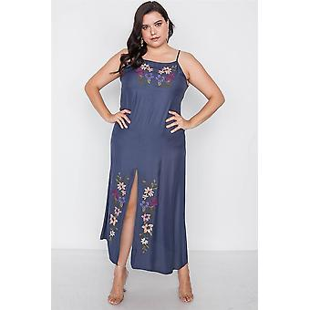 Plus taille marine cami broderie florale boho maxi robe
