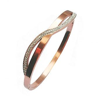 VIP Rose Gold Plated Polished Crystal Wave Bangle