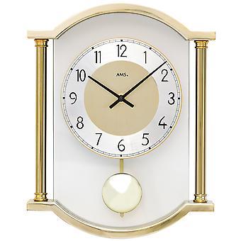 AMS 7449 wall clock quartz with pendulum pendulum clock golden glass combined with