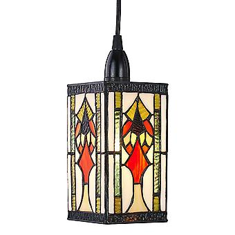 Art Deco Tiffany Easy Fit Pendant Shade with Green, Amber and Red Stained Glass