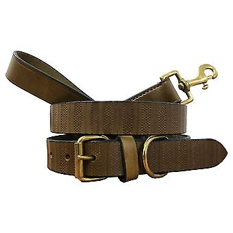Bradley crompton genuine leather matching pair dog collar and lead set bcdc6khakibrown