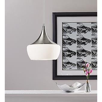 Gnome Alabaster Glass Brushed Steel Pendant Lamp