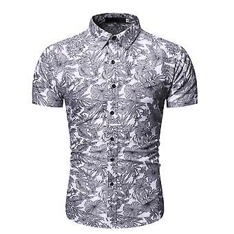 Allthemen Men's Floral Printed Loose Casual Lapel Kort skjorta