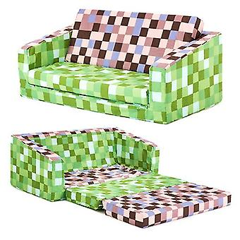 Pixels Green/Brown Children's 'Lily' Foam Fold Out Sofa Bed Lounger