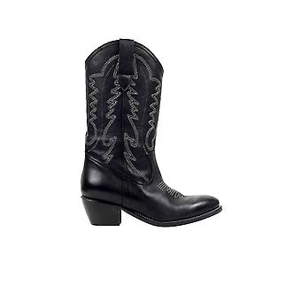 •ME BLACK EMBROIDERY TEXAN STYLE BOOT
