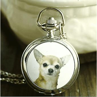 Chihuahua enamel mini pocket watch necklace