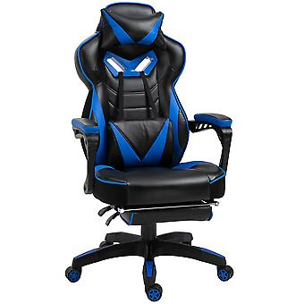 Vinsetto Ergonomic Racing Gaming Chair Office Desk Chair Adjustable Height Recliner with Wheels, Headrest,Lumbar Support Retractable Footrest Home Office, Blue