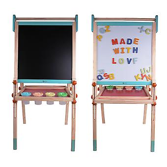 Classic World - Wooden Double Sided Multi-Functional Easel Whiteboard and Chalkboard for Children