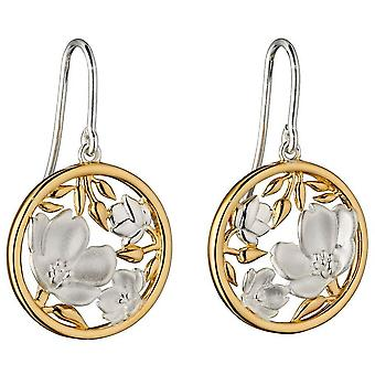 Elements Silver Cherry Blossom Round Earrings - Silver/Gold
