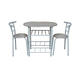 Chairs & Table Liverpool White Color, Natural Wood metal, MDF, Table L80xP53xA74.5 cm, Chair L35xP35xA76 cm