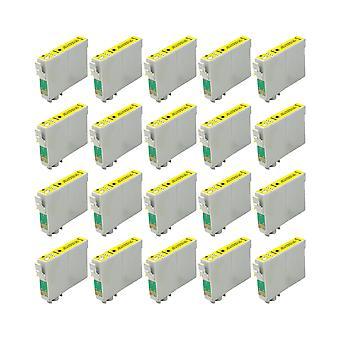 RudyTwos 20 x reemplazo para unidad de tinta Epson Caballito amarillo Compatible con Stylus Photo R200, R220, R300, R300M, R320, R325, R330, R340, R350, RX300, RX320, RX500, RX600, RX620, RX640