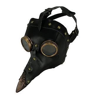 Black Leather Studded Steampunk Plague Doctor Adult Halloween Costume Mask