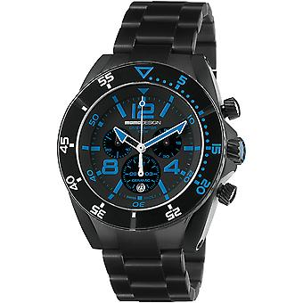MOMO Design Dive Master Watch MD1281BK-20 - Plated Stainless Steel Gents Quartz Chronograph
