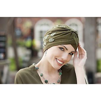 Funky chemo headwear - Emerald colour Green Leaf