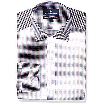 "BUTTONED DOWN Men's Tailored Fit Spread-Collar Pattern Non-Iron Dress Shirt, Red/Blue Gingham, 15.5"" Neck 34"" Sleeve"
