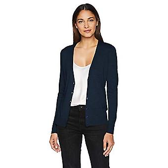 Essentials Women's suéter ligero Vee Cardigan, marino, medio