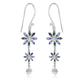 ADEN 925 Sterling Silver Abalony 3 Flowers Earrings (id 4551)