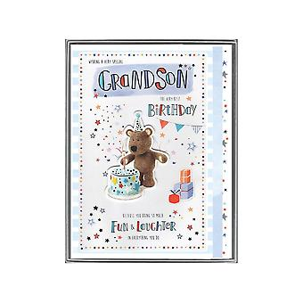 ICG Ltd Wishing A Special Grandson The Very Best Birthday Boxed Large Barley With Cake Card