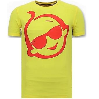 T-shirt With Print - Swiss With Sunglass - Yellow