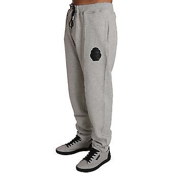 Šedý bavlnený sveter nohavice tepláková súprava BIL1027-1