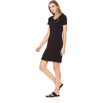 Merke - Daglig Ritual Kvinner's Jersey Kortermet Scoop Neck T-skjorte Kjole, Svart, X-Liten
