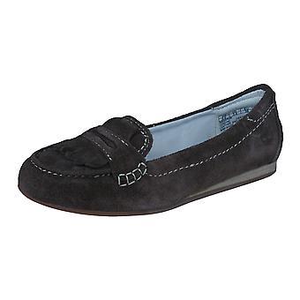Timberland EK Caska Kiltie Suede Womens plat Slip chaussures - marron