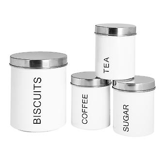 4 Piece Contemporary Kitchen Storage Canister Set - Steel Tea Coffee Sugar Caddy with Rubber Seal - White