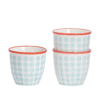 Nicola Spring 3 Piece Hand-Printed Plant Pot Set - Porcelain Indoor Outdoor Flower Pot - Turquoise - 14 x 12.5cm
