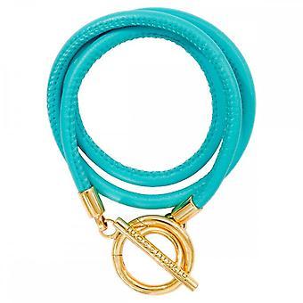 Nikki Lissoni Turquoise leer goud vergulde wrap armband