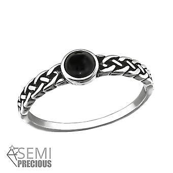 Onyx - 925 Sterling Silver Jewelled Inele - W30673x