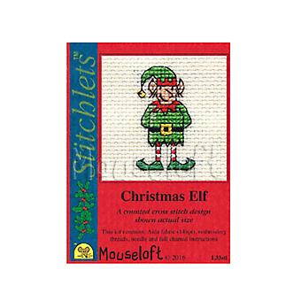 Elf - Stitchlets Small Christmas Counted Cross Stitch Card Making Kit