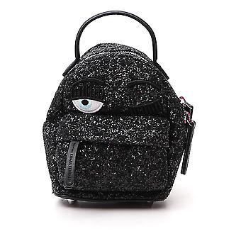 Chiara Ferragni Cfz077blk Femmes's Black Glitter Sac à dos