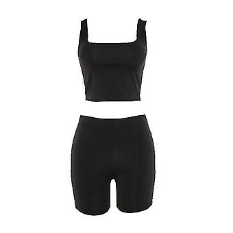 Square Neck Vest Crop Top and Cycling Shorts With Reflective Stripe Co Ord Set Black