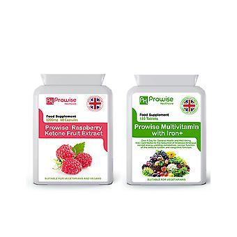 Raspberry Ketones + Multivitamins | Suitable For Vegetarians & Vegans | Made In UK